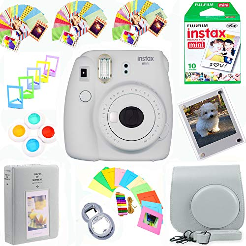 Fantastic Prices! Fujifilm Instax Mini 9 Film Camera (Smokey White) + Film Pack(10 Shots) + Pleather Case + Filters + Selfie Lens + Album + Frames & Stick-on Frames Exclusive Instax Design Bundle