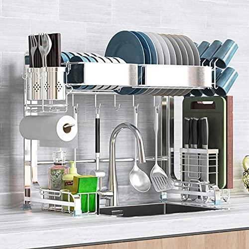 Rejilla de secado sobre el fregadero, estante de exhibición del escurridor de platos de acero inoxidable, organizador de vajilla que ahorra espacio en la encimera con soporte para utensilios