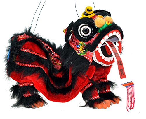 Mandala Crafts Hand String Puppet with Rod, Chinese Marionette Lion Toy, Black