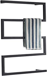 Electric Heated Towel Rail,Wall Mounted Bathroom Dryer Rack,Warmer Clothes and Towels,Metal Steel Frame - One Button Switch - Black
