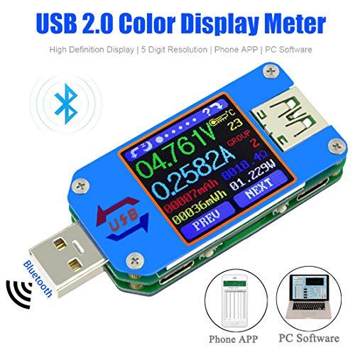 UM25C USB Tester Meter Voltmeter USB Multimeter Spannung Strom USB Spannungsprüfer Bluetooth Amperemeter Messgerät 1,44-Zoll LCD Display USB 2.0 Typ-C Kabelwiderstand Impedanz meter laden