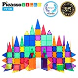 PicassoTiles 100 Piece Set 100pcs Magnet Building Tiles Clear Magnetic 3D Building Blocks...