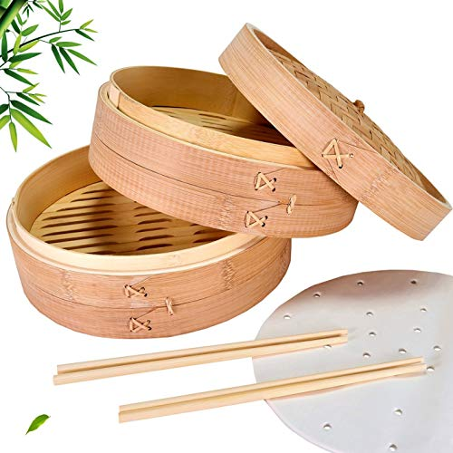 Monidia Bamboo Steamer Basket 10 Inch - Natural Healthy 2-Tier Chinese Dumpling Cooking Steam Baskets - Complete with 2 Pairs Chopsticks, 50 Wax Papers and User Guide