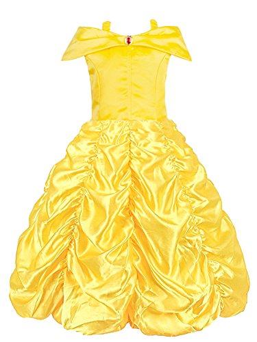 KABETY Robe de Princesse Belle Hors épaule Robe de Fille Cosplay Costume (Jaune, 7-8 Ans)