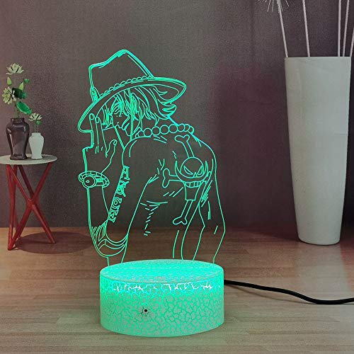 Luffy 3D Night Light, One Piece Anime LED Lámpara de escritorio de noche, lámpara de mesa a distancia para dormitorio, regalo de Navidad para adolescentes para niños (Crack Ace)