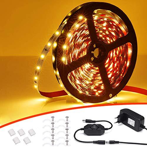 VOYOMO 5M LED Strip Dimmbar, 300 LEDs Streifen 2700K Warmweiß LED Band, Selbstklebend 2835 LED Lichtstreifen mit 12V Netzteil Ihnenbeleuchtung für Spiegel Küche Schrank Weihnachten Party Deko
