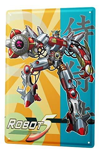 LEotiE SINCE 2004 Plaque en Métal Métallique Poster Mural tin Sign Cartoon Art Amusant Manga Japon Robots Metal Plates 20X30 cm