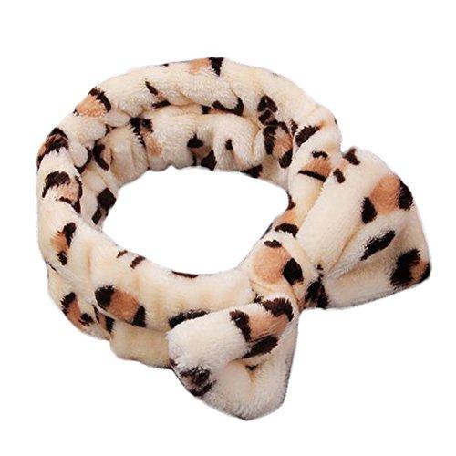 Oyfel Felpa Lazo Diademas Mujer para Pelo Cinta de Lavar Turbante Suave Diadema de Coral Fleece elástica algodón Maquillaje SPA Bath Lavado Makeup Banda Leopardo