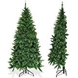 Goplus Artificial Christmas Tree Half-Shape Design, with Metal Stand, for Xmas Indoor and Outdoor Decoration (6ft)