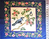 Birds Blue Jays asnd Apple Blossoms Cranston Print Works Fabric Panel 20'x17'