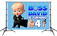 Studio Youtubeバナー ボスデイビッドは4つの誕生日おめでとうテーマパーティーを回しています 小道具の背景ブース 黒い肌の図、黒いブリーフケースを考える 折りたたみ式背景ビニール 現代の