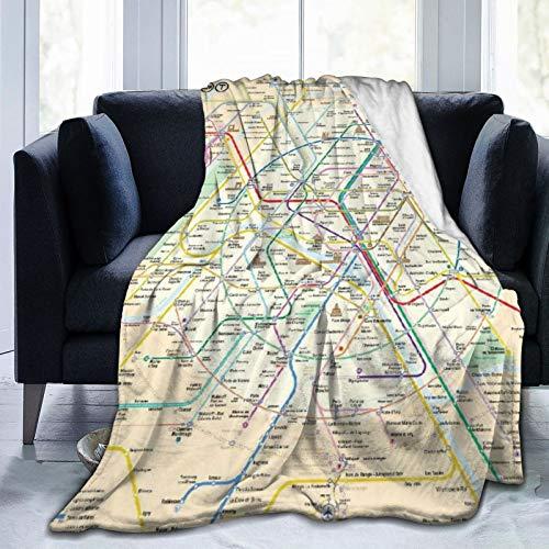 GKGYGZL Couverture Confortable en Flanelle Fine, Plan du métro de Paris, Couverture de climatiseur 80 'X 60'