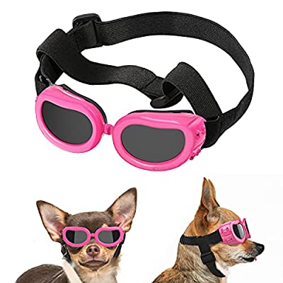Lewondr Small Dog Sunglasses UV Protection Goggles Eye Wear Protection with Adjustable Strap Waterproof Pet Sunglasses for Dogs Pet Sun Glasses Dog Windproof Anti-fog Glasses, Pink