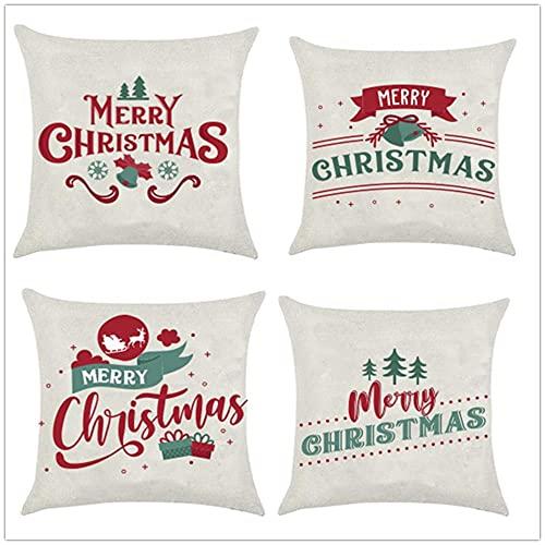 Fundas de Cojín Lema de Saludo de Navidad Algodón de Lino Cuadrado Funda de Almohada Decor Hogar Cushion Covers para Salón Sofá Coche Dormitorio Throw Pillow Case Juego de 4 L3012 60x60cm/24x24inch