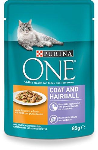 Purina One Gato húmedo Forro Coat & Hair Pelota, con Pollo y Granos Verdes, 24x 85g