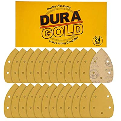 Dura-Gold - Premium Hook & Loop - 320 Grit 5-Hole Hook & Loop Sanding Sheets for Mouse Sanders - Box of 24 Sandpaper Finishing Sheets for Automotive and Woodworking