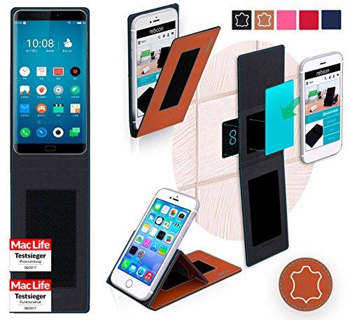 reboon Hülle für Meizu Pro 7 Tasche Cover Case Bumper   Braun Leder   Testsieger