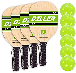 Diller Pickleball Paddle 4 Player Bundle (Set Includes 4 Paddles & 6 Balls)