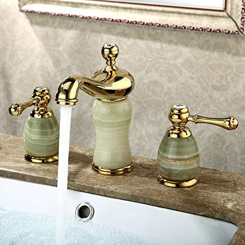 Dreiteilige Waschtischarmatur aus Messing mit zwei Griffen und Dreiloch-Waschtischarmatur aus smaragdgoldenem Kupferdruckguss