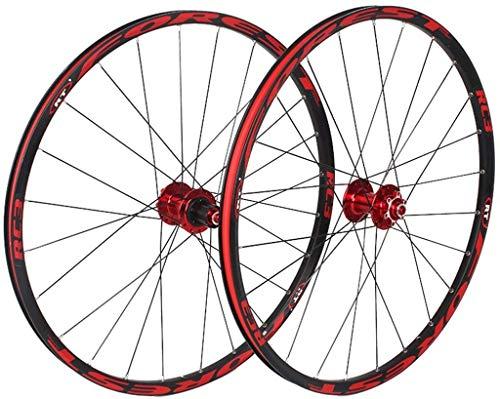 YZU Juego de ruedas para bicicleta de montaña 26 27.5 pulgadas MTB rueda de doble capa 7 rodamientos sellados 11 velocidades Cassette Hub Freno de disco QR 24 agujeros 1850g, Rojo, 26 pulgadas