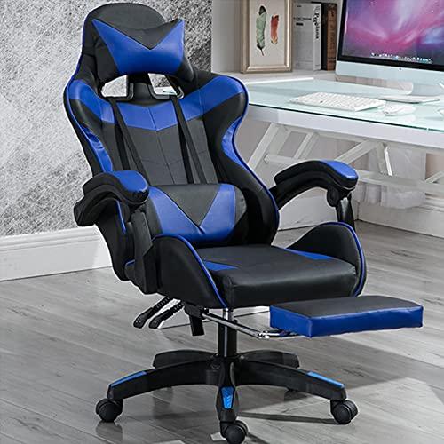 Oficina, Silla Gaming Silla Escritorio Juvenil, Silla Oficina con Ruedas ReposapiéS, ErgonóMico Fácil instalación,Adecuado para Varios Lugares, Azul