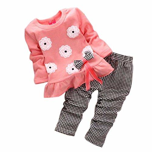Internet Bébé Jeunes Filles Nylon Polyester Chemise à Manches Longues Fleurs Impression Bowknot + Pantalon Carreaux vêtements Ensemble (110(3-4 Ans), Rose)