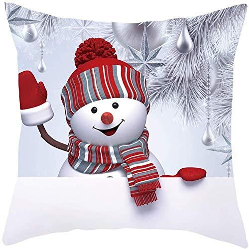 XXLYY Merry Christmas Linen Pillowcase Christmas Sofa Pillow Case 3D Snowman Cushion Cover Decorative Cover Home Decoration Decor Cusion Throw Pillow Cases for Chair Car Pillowcases 45cm X 45cm