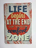 人生はあなたのコンフォートゾーンの終わりに始まりますレトロメタルブリキ看板プレートリビングルームの装飾ポスター