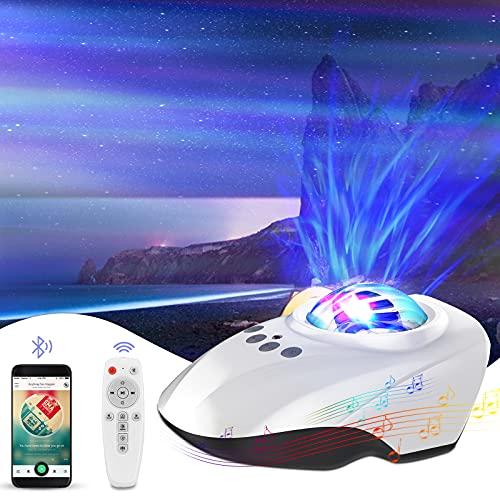 HQKNIGHT Proyector Estrellas, Proyector Estrellas Techo Adultoscon Bluetooth Altavoz/Control Remoto 14 Modos Romántica y 8 Sonidos Musical, Música Regalo para Adulto y Bebés
