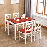 mecor 5 Piece Kitchen Dining Table Chairs Set, 4 Wood Chairs Dinette Table Kitchen Room Furniture, Red
