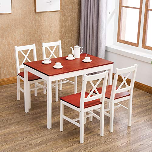 Mecor 5 Piece Kitchen Dining Table Set, 4 Wood Chairs Dinette Table Kitchen Room Furniture, Red