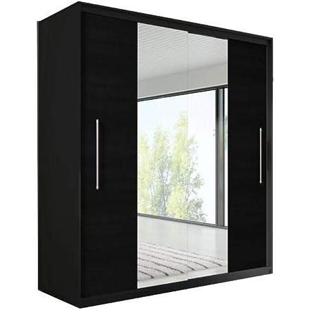 E-MEUBLES Armoire de Chambre avec 2 Portes coulissantes | Penderie (Tringle) avec étagères (LxHxP): 204x218x58 Nico avec Miroir (Noir+ Noir+ Miroir)