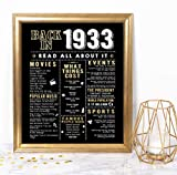 Katie Doodle 88th Birthday Party Decorations Supplies Card Gifts for Men or Women Turning 88 Years Old - Includes 8x10 Back in 1933 Print [Unframed], Black and Gold