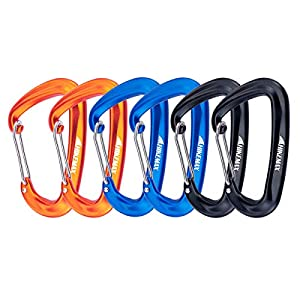 Hikemax 12KN Snag-Free Wiregate Carabiners Set - Lightweight 7075 Aluminum Climbing Carabiners 6 Pack - Best for Hammocks, Clipping On Camping Accessories, Keychains and More