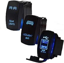 XJMOTO 3pcs Rocker Switch LED Light bar & Rear light & USB Power Charge Toggle Switch Blue LED Laser 20A 12V for ATV UTV Polaris RZR Can-am HONDA YAMAHA Can-AM Maverick JEEP SUV