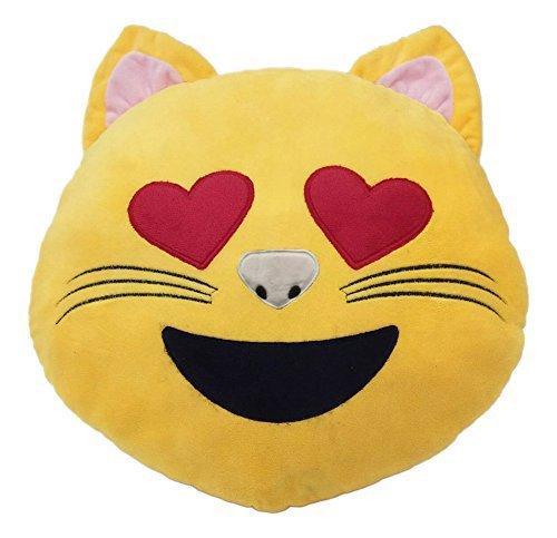 Barfly Fashion New 32cm 50cm Emoji Smiley Emoticon Yellow Brown Rainbow Poo Tongue Out Round Cushion Pillow Stuffed Plush Soft Toy (JUMBO - 50CM DIAMETER, Cat)