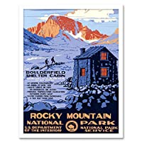 Travel Rocky Mountain National Park Cabin Snow USA Art Print Framed Poster Wall Decor 12X16 Inch 旅行岩山全国パーク雪アメリカ合衆国ポスター壁デコ