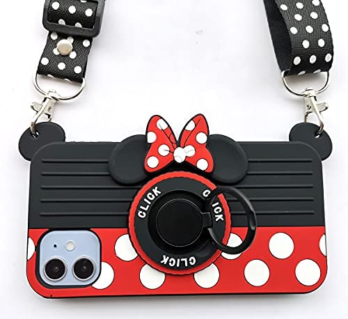 for iPhone 11 Case 3D Cute Soft Silicone Cartoon Minnie Mouse Camera Design Phone Case for Women/Girl/Friends Classmate Best Birthday Gift (6.1in)