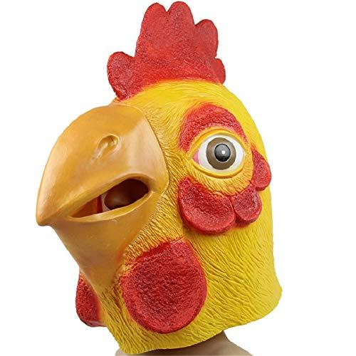 NLYWB Maschera di Pollo, Maschera di Testa di Animale in Lattice per Feste in Costume di Halloween, Puntelli Cosplay di Gallo, Abbigliamento per Feste in Maschera
