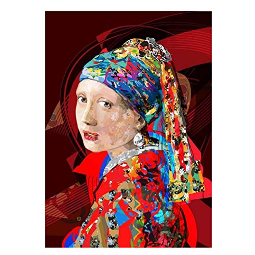 JLFDHR Abstract Girl with Pearl Earrings Canvas Painting on The Wall Canvas Posters and Prints Famous Art Picture for Living Room Decor-70x100cmx1 No Frame