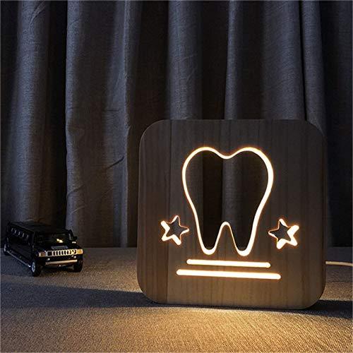 Lámpara de Mesa Dientes de Madera Tallada luz de Noche Decorativa habitación del bebé como luz de Noche de sueño o decoración de Regalo Directamente