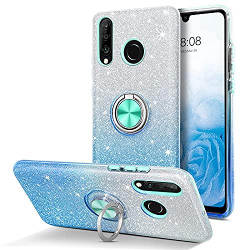 DUEDUE Huawei P30 Lite Hülle Glitzer, Huawei P30 Lite Handyhülle Silikon Slim Hülle Cover Kratzfest Hülle für Huawei P30 Lite/Huawei P30 Lite New Edition Blau