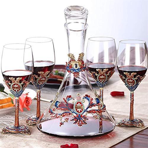 Decantador de vino de cristal hecho a mano, Decantador de vino de esmalte de alta gama Decantador de estilo Rey Dispensador de vino CRISTAL CRISTAL CLEAR Mano Mano grueso Material de la botella redond