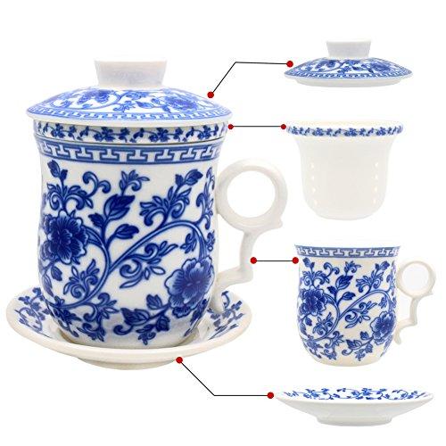 Hollihi Tasse en porcelaine avec couvercle, soucoupe et infuseur - Tasse à thé en porcelaine chinoise de Jingdezhen pour thé en vrac ou café - Pour la maison ou le bureau