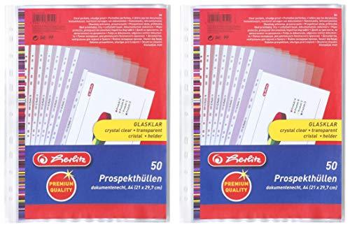 Herlitz 5850508 Prospekthülle Premium, A4 glasklar (100 Stück)