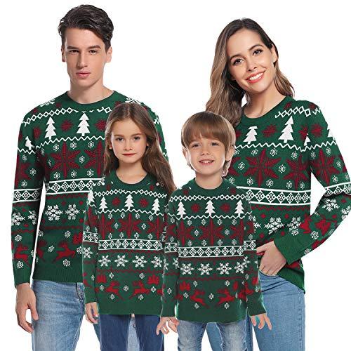 Aibrou Suéter de Navidad Familia Pullover de Punto Jerséis para Mujer Hombre...