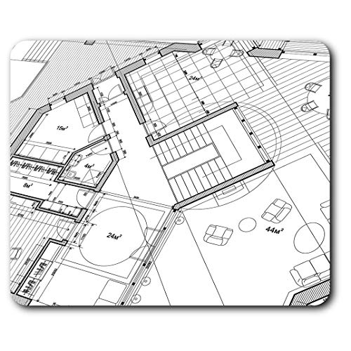 Estera cómoda del ratón - Arquitecto planes de vivienda Imprimir 23.5 x 19.6 cm (9.3 x 7.7...