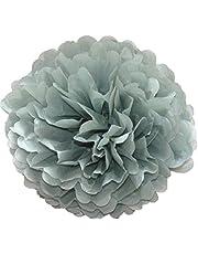 10 pompones de papel de seda para decoración de fiesta de boda, 25 cm, 20 colores a elegir (gris)
