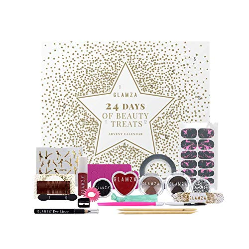 Beauty Advent Calendar 2020 GLAMZA 24 Days of Beauty Treats Makeup Advent Calendar For Women & Girls - Includes Wide Range of Gifts for Her Including Nail, Lips, Eye and Hair Care