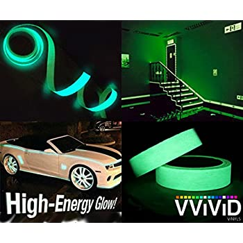 VViViD DECO65 Glow in The Dark Green Permanent Adhesive Craft Vinyl Tape Roll 1//2 x 25ft